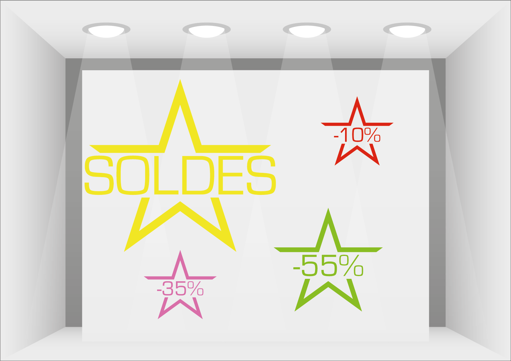 stickers soldes vitrines ultra r sistant petits prix lettres adh sives 26. Black Bedroom Furniture Sets. Home Design Ideas