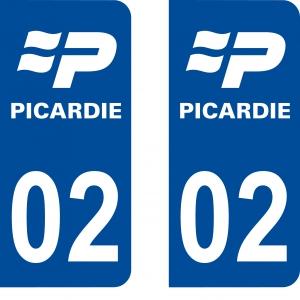 Achat stickers autocollants plaques d'immatriculation Aisne (2) - Logo autocollant 02