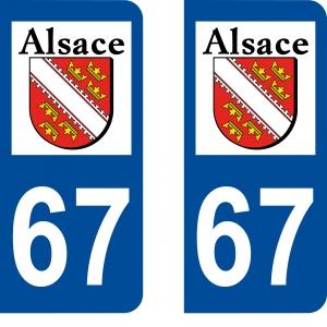 Achat stickers autocollants plaques d'immatriculation Bas Rhin (67) - Logo autocollant 67