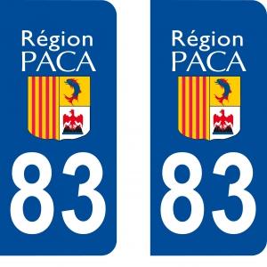 Achat stickers autocollants plaques d'immatriculation Var (83)- Logo autocollant plaque d'immatriculation 83