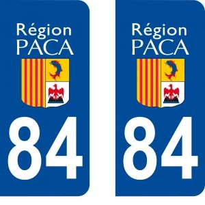 Achat stickers autocollants plaques d'immatriculation Vaucluse (84)- Logo autocollant 84