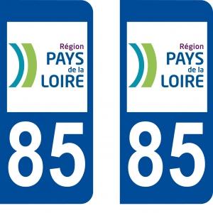 Achat stickers autocollants plaques d'immatriculation Vendée (85)- Logo autocollant 85