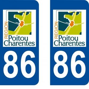 Logo autocollant plaque d'immatriculation 86