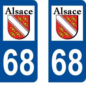 Achat stickers autocollants plaques d'immatriculation Haut Rhin (68) - Logo autocollant 68