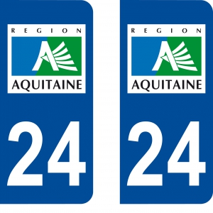 Autocollant plaque immatriculation 24
