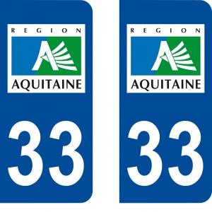 Logo autocollant plaque d'immatriculation 33