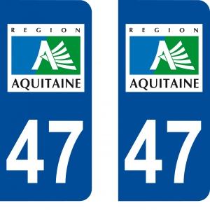 Logo autocollant plaque d'immatriculation 47