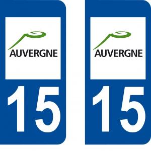 Achat stickers autocollants plaques d'immatriculation Cantal (15) - Logo autocollant 15