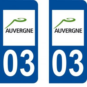 Achat stickers autocollants plaques d'immatriculation Allier (3) - Logo autocollant 03