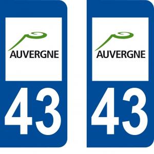 Autocollant plaque immatriculation 43