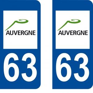 Achat stickers autocollants plaques d'immatriculation Puy de Dôme (63) - Logo autocollant 63