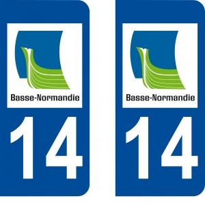 Achat stickers autocollants plaques d'immatriculation Calvados (14) - Logo autocollant 14