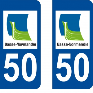 Achat stickers autocollants plaques d'immatriculation Manche (50) - Logo autocollant 50
