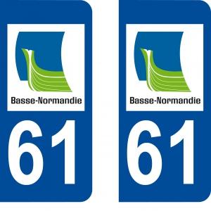 Achat stickers autocollants plaques d'immatriculation Orne (61) - Logo autocollant 61