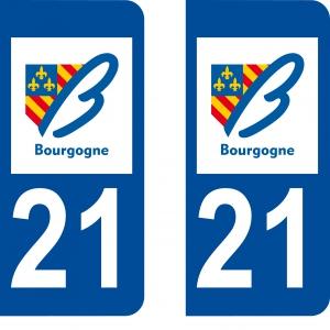 Achat stickers autocollants plaques d'immatriculation Côte d'or (21) - Logo autocollant 21