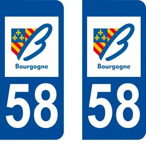 Achat stickers autocollants plaques d'immatriculation Nièvre (58) - Logo autocollant 58