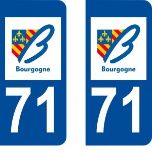 Achat stickers autocollants plaques d'immatriculation Saône et Loire (71) - Logo autocollant 71