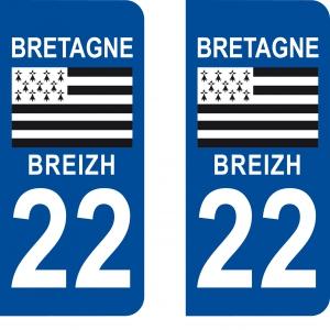 Logo autocollant plaque d'immatriculation 22