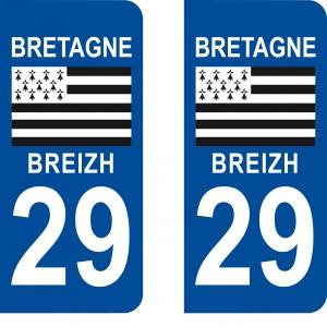 Achat stickers autocollants plaques d'immatriculation Finistère (29) - Logo autocollant 29