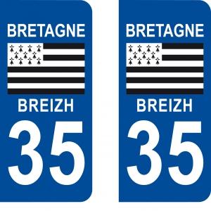 Achat stickers autocollants plaques d'immatriculation Ile et Vilaine (35) - Logo autocollant 35