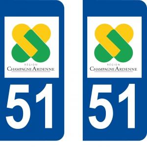 Logo autocollant plaque d'immatriculation 51