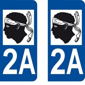 Achat stickers autocollants plaques d'immatriculation Corse du Sud (2A) - Logo autocollant 2A