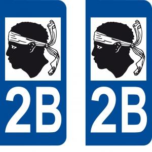 Achat stickers autocollants plaques d'immatriculation Haute Corse (2B) - Logo autocollant 2B