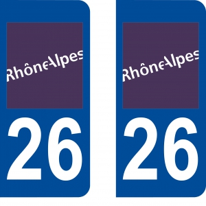 Achat stickers autocollants plaques d'immatriculation Drôme (26) - Logo autocollant 26