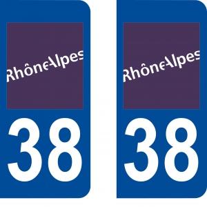Achat stickers autocollants plaques d'immatriculation Isère (38) - Logo autocollant 38