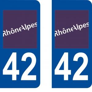 Achat stickers autocollants plaques d'immatriculation Loire (42) - Logo autocollant 42