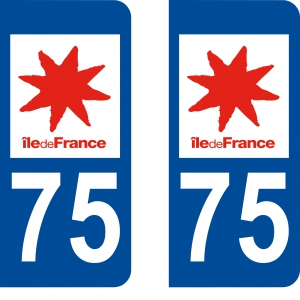 Achat stickers autocollants plaques d'immatriculation Paris (75) - Logo autocollant 75