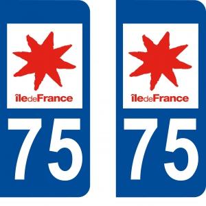 Logo autocollant plaque d'immatriculation 75