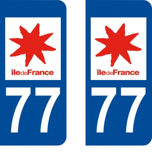 Achat stickers autocollants plaques d'immatriculation Seine et Marne (77) - Logo autocollant 77