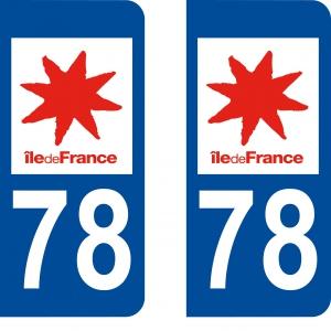 Logo autocollant plaque d'immatriculation 78
