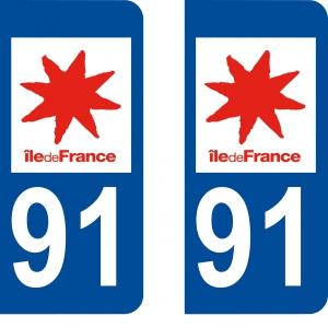 Logo autocollant plaque d'immatriculation 91