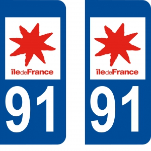 Achat stickers autocollants plaques d'immatriculation Essonne (91) - Logo autocollant 91