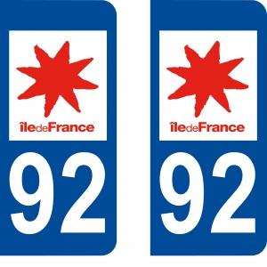 Logo autocollant plaque d'immatriculation 92