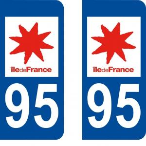 Logo autocollant plaque d'immatriculation 95