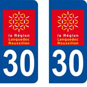 Achat stickers autocollants plaques d'immatriculation Gard (30) - Logo autocollant 30