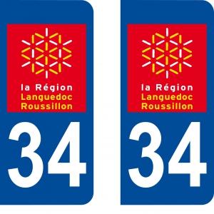 Achat stickers autocollants plaques d'immatriculation Hérault (34) - Logo autocollant 34