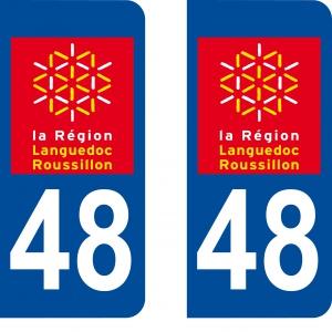 Achat stickers autocollants plaques d'immatriculation Lozère (48) - Logo autocollant 48