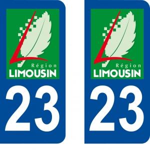 Achat stickers autocollants plaques d'immatriculation Creuse (23) - Logo autocollant 23
