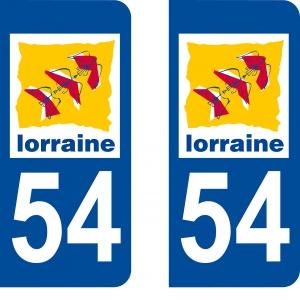 Achat stickers autocollants plaques d'immatriculation Meurthe et Moselle (54) - Logo autocollant 54