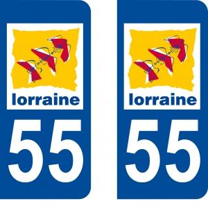Autocollant plaque d'immatriculation 55