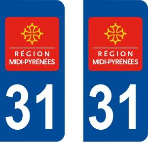 Achat stickers autocollants plaques d'immatriculation Haute Garonne (31) - Logo autocollant 31