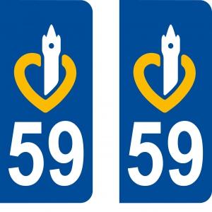 Autocollant plaque d'immatriculation 59