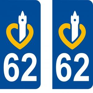 Logo autocollant plaque d'immatriculation 62