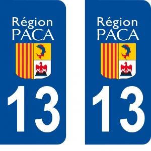 Achat stickers autocollants plaques d'immatriculation Bouches du Rhône (13) - Logo autocollant 13