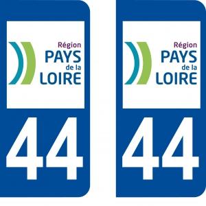 Achat stickers autocollants plaques d'immatriculation Loire Atlantique (44) - Logo autocollant 44