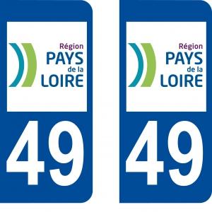 Achat stickers autocollants plaques d'immatriculation Maine et Loire (49) - Logo autocollant 49